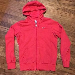 Bright pink Nike hooded zip up